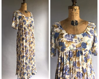 1990's Sheer Floral Babydoll Maxi Dress