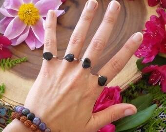 Black obsidian  ring, obsidian, black crystal ring, adjustable rings