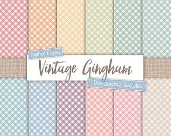 Vintage Gingham Digital Paper Pack, Diagonal Gingham Digital Paper, Rustic Gingham Paper, Rainbow Gingham, Check Digital Paper
