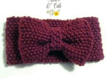 Knit bow ear warmer ANY COLOR! (bow head wrap) (knit ear warmer) (bow warmer) (bow ear warmer)