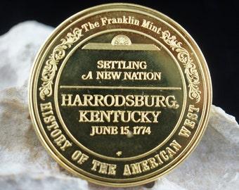 Coin Money Sterling a New Nation ,Harrodsburg, Kentucky June 15.1774 24k Gold Electroplate on sterling The Franklin Mint modernist u203