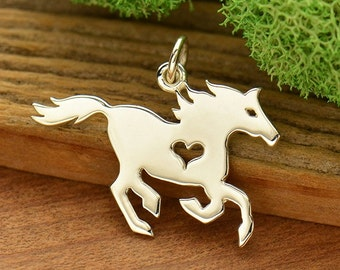 Sterling Silver Horse Charm. Horse Gift. Horse with Heart Charm. Horse Lover Gift.
