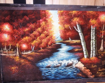 Vintage Velvet Painting/ Trees/ Stream/ Signed Argo