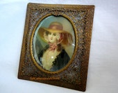 Hand Painted Portrait Miniature Watercolor Painting on Ivory Bronze Filigree Frame Ivory is Signed Bictre' Antique Collectible