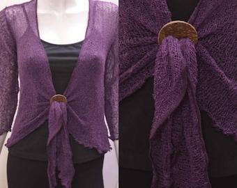 Boho chic crochet style knit shrug cardigan Dark Purple onesize 10 12 14 16 18 20