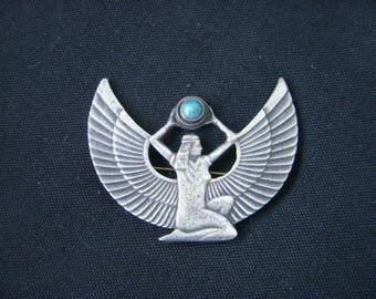 Art deco egyptian revival silver brooch wings