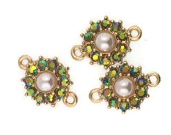 Pearl and Olivine AB Crystal Floral Connectors (3 Pieces)