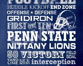 8x10 Penn State Football Word Art Print / Sign - Typography Art Print