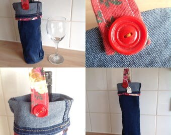 wine gift bag cooler made from reclaimed denim and vintage red floral linen handle and vintage button detail wine lover gift ooak handmade