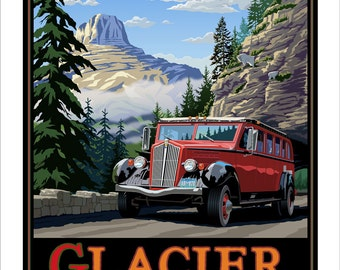 Glacier National Park, Going to the Sun Road on the Red Bus. 11x14 & 16x20 Giclee prints.