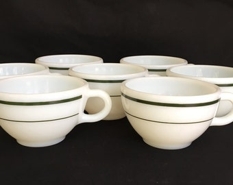 7 Vintage PYREX cups, green and white, 701-35