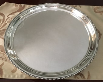 "Silverplate Serving Tray Round 14 1/4"" Vintage"