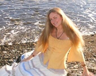 Tenderness. Boho skirt in  white and light-blue colours.