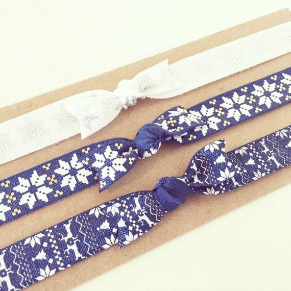 Nordic Winter Knot Bow Headband Set | Navy Blue + White Knot Bow Headbands, Baby Toddler Girls, Hanukkah Holiday Christmas Knot Bow Headband