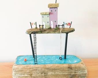 Driftwood sky houses, driftwood sculpture, driftwood scene, driftwood art, driftwood cottages, driftwood model