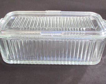 Vintage Clear Ribbed Glass Refrigerator Storage Container ~ 8x4 Rectangle w/Lid