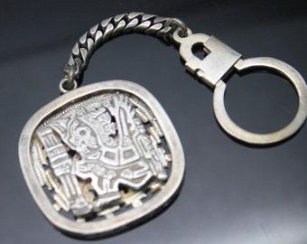 "RARE Vintage Pierced Design Inca Aztec Mayan God Solid Sterling Silver Key Chain 4.5"""