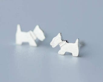 Free shipping: sterling silver dog puppy stud earrings