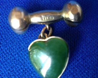 18ct Gold Link with Jade Heart