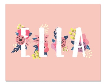 Ella Baby Name Wall Art Ella Baby Name Sign Ella Party Printable Ella Party Decorations Ella Art
