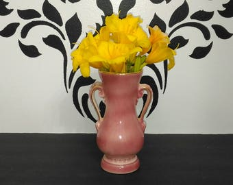 Royal Copley Pink Vase with Handles and Gold Trim
