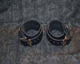 Black Leather Wrist Cuffs