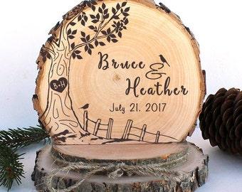 Rustic Wedding Cake Topper. Oak Tree with Birds Cake Topper. Rustic Wood Cake Topper. Rustic Cake Topper. Wedding Keepsake. Rustic Wedding