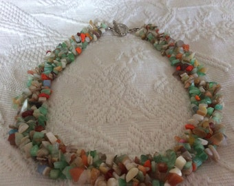 Woven Seaglass and shells Necklace