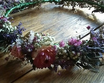 Bespoke Handmade Floral Crown, Garland, Wedding Hair Piece dried flowers, thistle, gyp, lavender, Bride,  Halo, Circlet, Comb, Vintage,