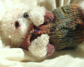 Pet Sweater with Pockets| Pet Clothing | Hand Knit Dog Clothes | Dog Sweater | Button Dog Sweater by BubaDog