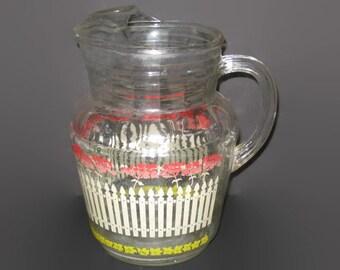 Vintage Water Pitcher, Serving Pitcher, Vintage Glass, Picket Fence, Flower Pitcher, Drink Pitcher, Collectible Glass, Lemonade Pitcher