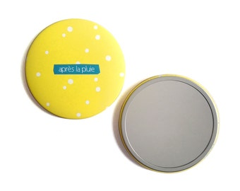 Round Pocket mirror 'after the rain' / Pocket mirror 'after the rain' - creation of Ginger in may