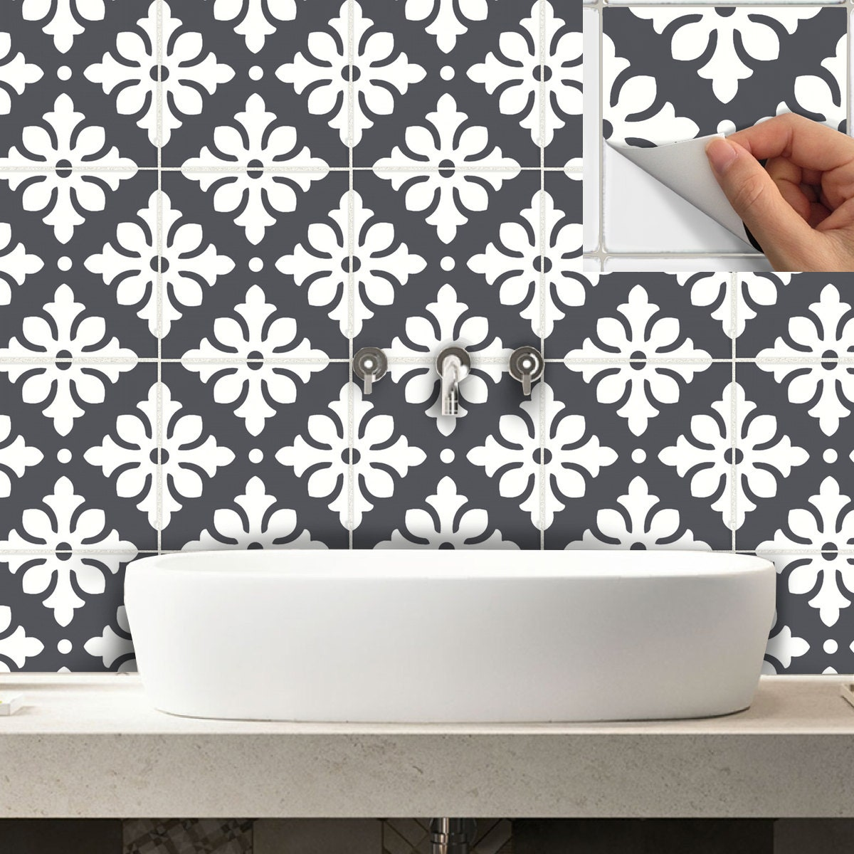 ceramic tile stickers bathroom tile stickers decal for kitchen bathroom back splash or 17648