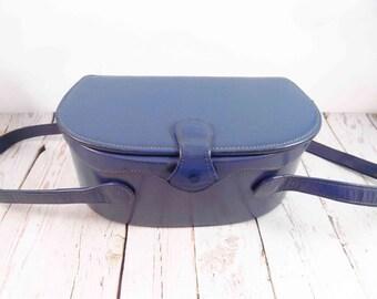 Blue, Gray, Box Purse, mirror, mid century modern,vintage box purse,blue box purse,pocketbook, hand bag