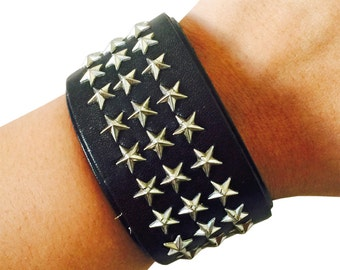 Bracelet to hide and protect Fitbit Flex and Flex 2 Fitness Activity Trackers - The CARTER Silver Star Studded Black Vegan Leather Bracelet