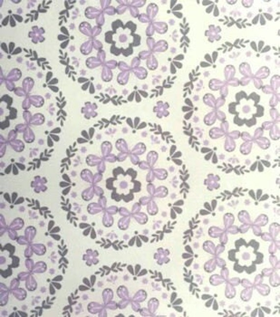 Magic moon floral nursery cotton fabric purple gray for Floral nursery fabric