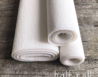 White - 60g Italian Crepe Paper - HALF ROLL