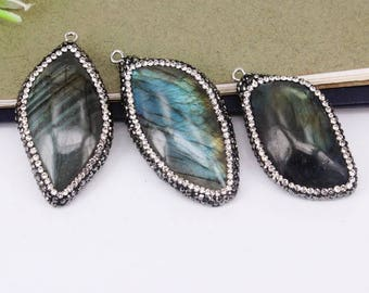 5pcs Natural Labradorite Stone Druzy Pendant Beads,with Crystal Rhinestone Paved Pendant,Charm Gemstone Pendant For Jewelry Making