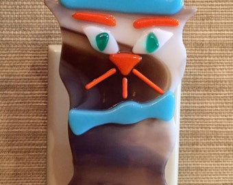 Night Light, Fused Glass, Cat, Top Hat, Bow Tie, Child's Room Light, Nursery Light