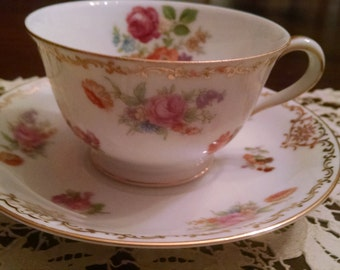 nortake occupied japan floral cup and saucer