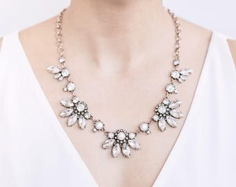 Wedding Necklace, Bridal Necklace, Crystal Flower Cluster Fan Statement Necklace, Bridesmaid Gift, Bridesmaid Necklace