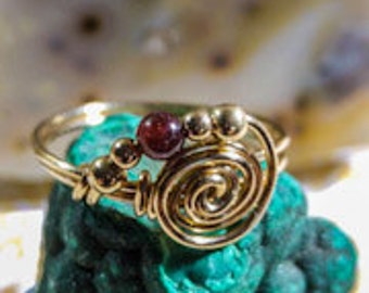 Handmade Wire Wrapped spiral Ring - 14K Goldfilled Ring - Choose US Size 4-10 - Choose Natural Gemstone: Ruby, Emerald, Turquoise. Garnet