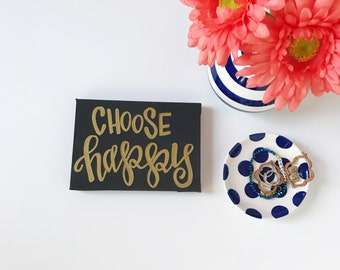 Choose Happy Sign - Choose Happiness Wall Decor - Inspirational Sign - Apartment Decor - Gold Dorm Decor - Motivational Wall Hanging