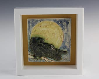 Raven in the Moonlight Tile, Crow Art, Framed, Handmade by Arizona Artist, Karlene Voepel.