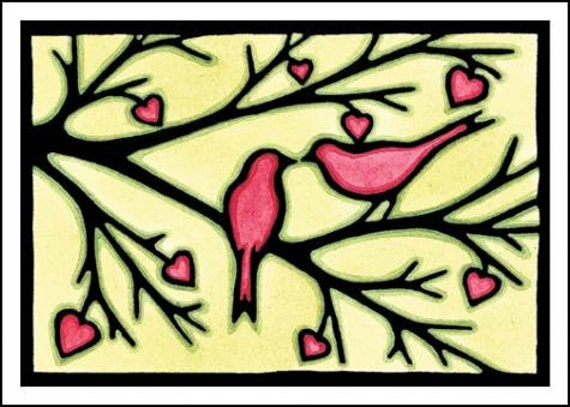 Love Birds - Single Blank Sarah Angst Greeting Card - Two Birds in a Heart Tree