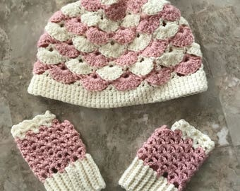 Cotton Candy 'Scales' Hat and Fingerless Gloves Set