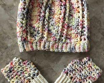 Rainbow Slouchy Hat And Fingerless Gloves Set