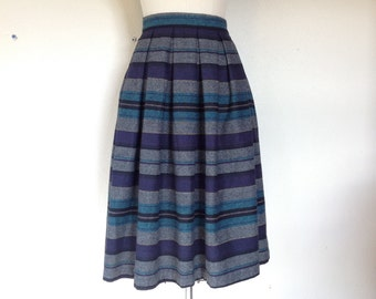 1980s Gathered striped wool blend skirt