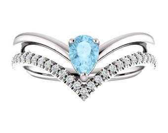 14K White Gold Pear Shape Genuine Aquamarine & 1/6 CTW Diamond Negative Space Ring, Double V Ring