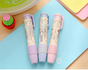 3 Kawaii Cute Erasers, Retractable Pencil Erasers, Cute Stationery